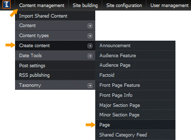Content Management -- Create Content -- Page