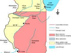 Map showing original Illinois border