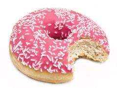 Pink donut with sprinkles