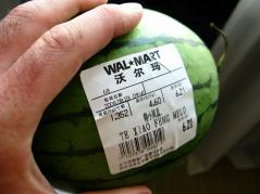 label on a watermelon from China Wal-Mart