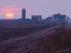 purple sunset over farm