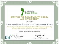 NRES Achieves Silver Certification in the Green Office Initiative
