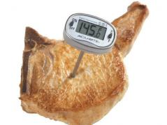 meat thermometer in pork