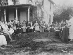 Unit Meeting on Chickens (c.1918, photo by Clara R. Brian)