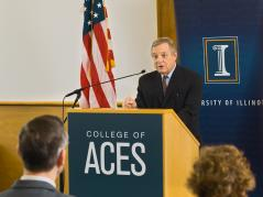 "U.S. Senator Richard ""Dick"" Durbin announces that the U of I will be receiving a $25 million federal grant to increase Africa's food supply through soybean research."