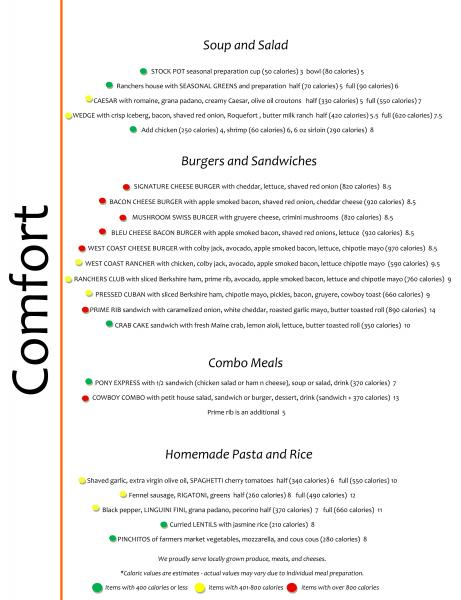 Lunch  menu with traffic lights