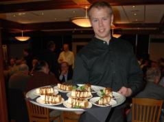 Matt Blume serving dessert