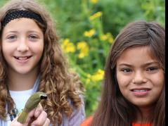 Future ornithologists with Common Yellowthroat ( Geothlypis trichas)